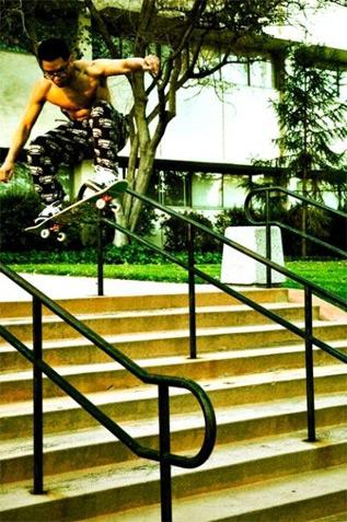 Johnny skateboarding