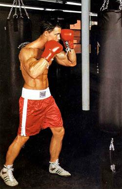 Tense boxing stance