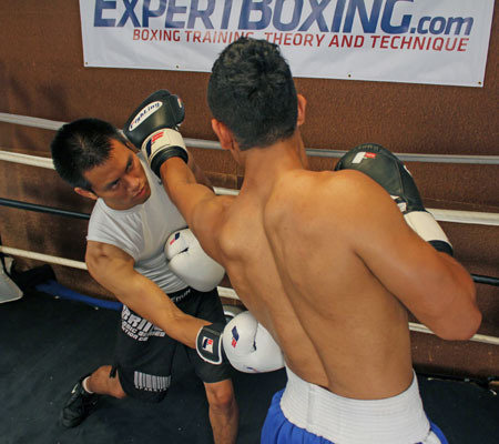 right hook to the body after jab